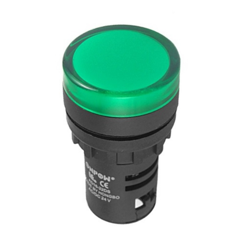 Piloto led 230 Vca 22 mm. Verde