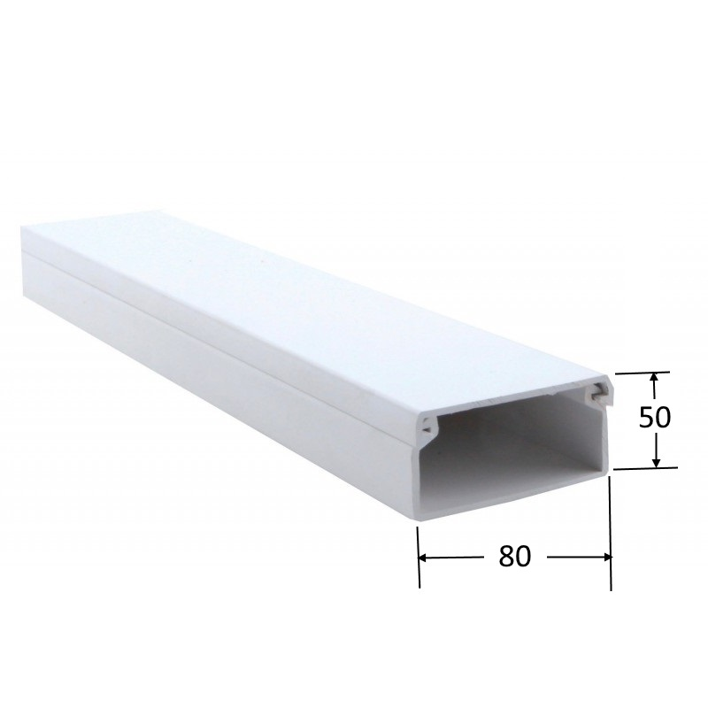 Canaleta 80 x 50 mm.  (Barra 2 mts)