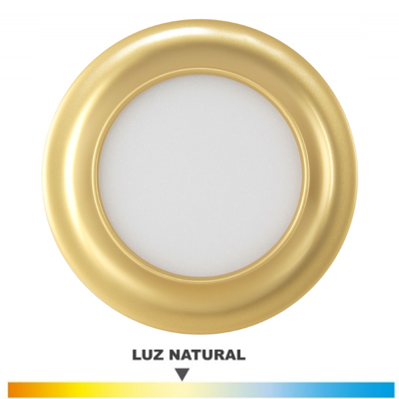 Downlight Dorado 9 Wat. LED Luz Natural