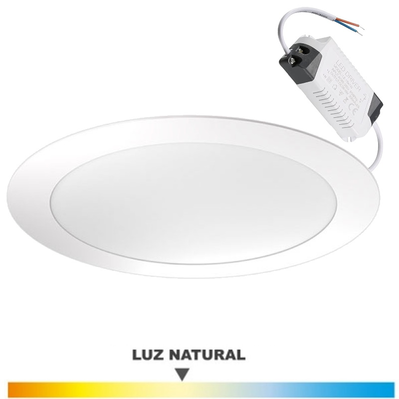Downlight Blanco 18 Wat. LED Luz Natural