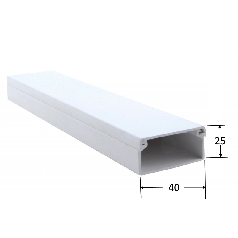Canaleta 40 x 25 mm.  (Barra 2 mts)